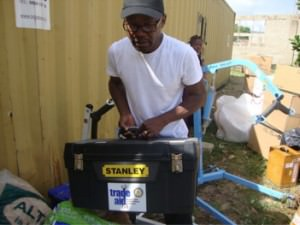 Stanley wheelchair repair kits are part of the items we give out. The tool kit is used to repair wheelchairs within the community.